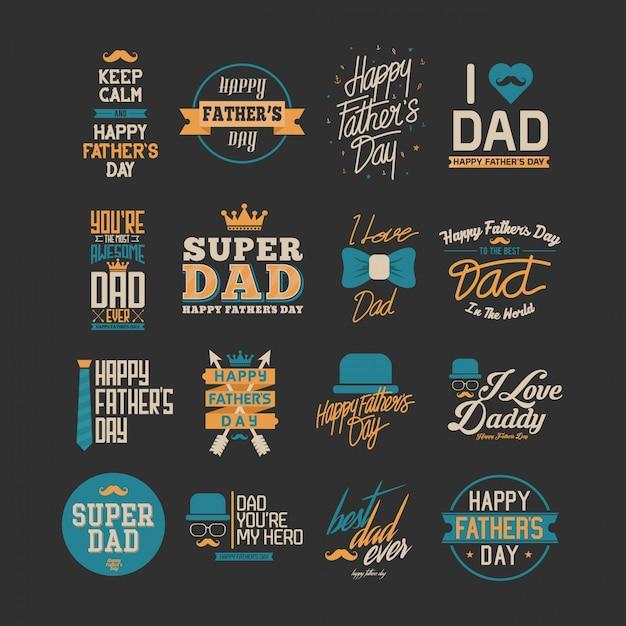 幸せな父の日のタイポグラフィアート Premiumベクター