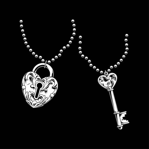 Ключ и навесное ожерелье иллюстрации Premium векторы