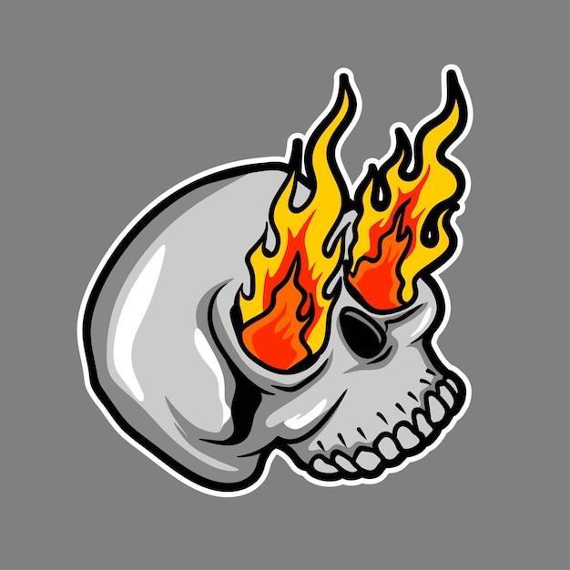 Череп с изображением пламени Premium векторы