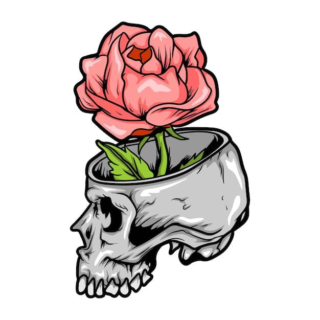 Роза в черепе Premium векторы