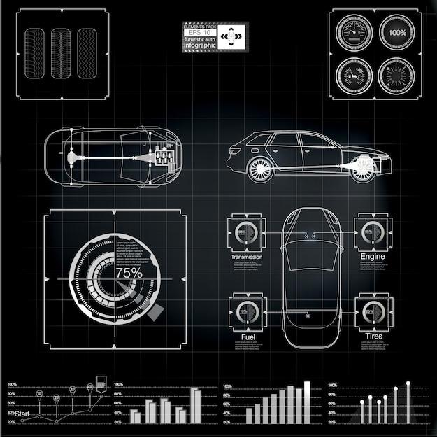 未来のユーザーインターフェイス。貨物輸送と輸送のインフォグラフィックス。 Premiumベクター