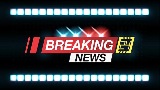 バナーニュース、重要なニュース、点滅するランプの形のヘッドライン警察。ヴェクト Premiumベクター