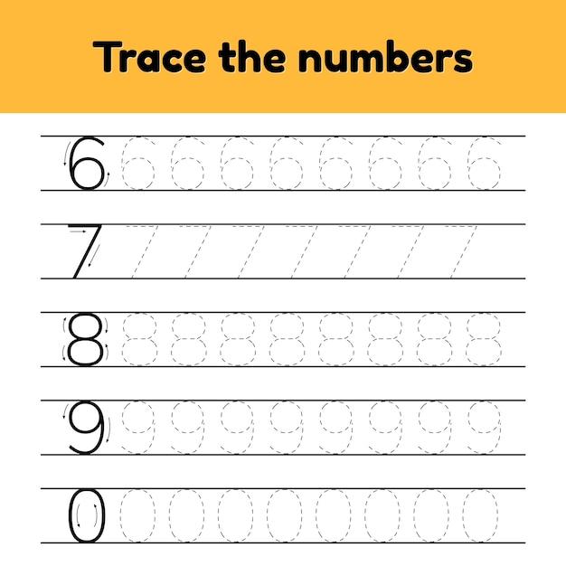 ベクトルイラスト幼稚園と就学前の子供のためのトレース行番号 Premiumベクター