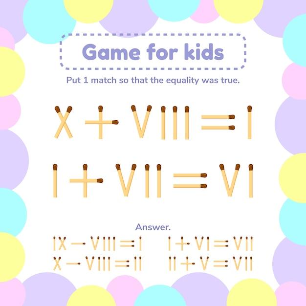 子供向けの数学ゲーム。 Premiumベクター