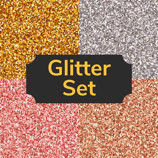 正方形の色キラキラテクスチャ、シームレスなパターンまたは背景を設定します。金、銀、ピンク、青銅。 Premiumベクター