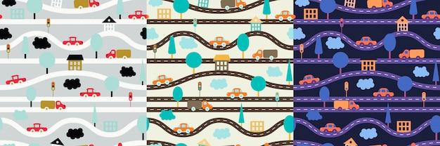道路、車、木、信号機、家、雲と子供のシームレスパターン。 Premiumベクター