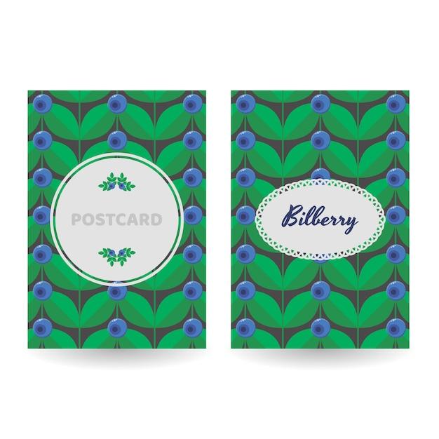 ポストカード、ポスター、バナーのセット。花青い森の夏のベリー Premiumベクター