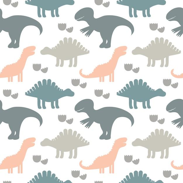 Векторная иллюстрация дети милые бесшовные модели с силуэтами динозавров. детский фон. для текстиля, ткани. Premium векторы