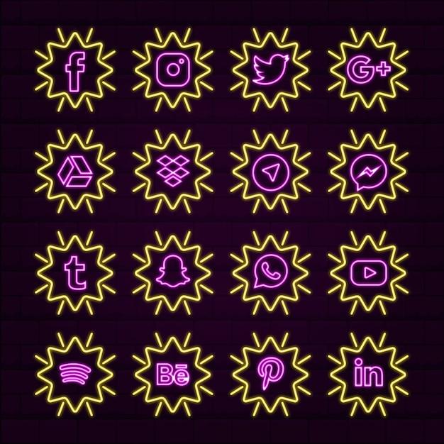 Желтые неоновые яркие звезды социальных медиа значок или логотипы Premium векторы