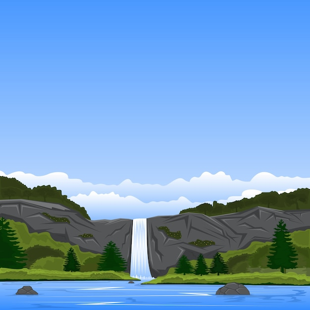 崖の滝と湖の景観 Premiumベクター