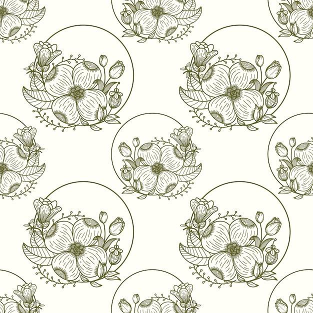 エスニック風のシームレス花柄手描きの葉の要素。 Premiumベクター