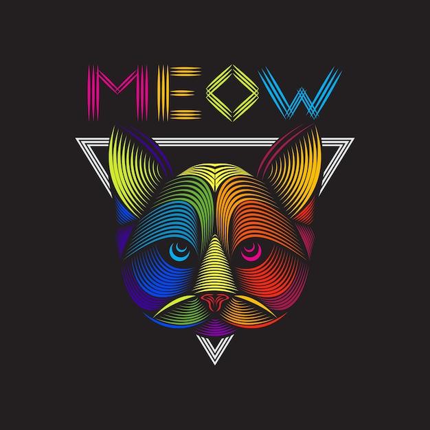 猫の頭のラインアートイラスト Premiumベクター
