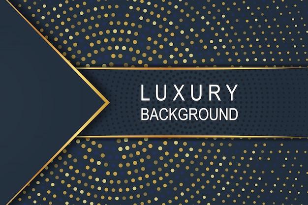 サークルハーフトーンパターンにゴールドの豪華な暗い青色の背景 Premiumベクター