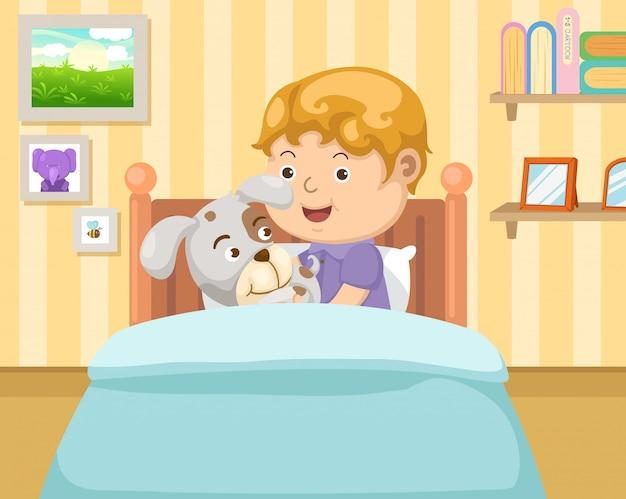 Мальчик с собакой в спальне Premium векторы