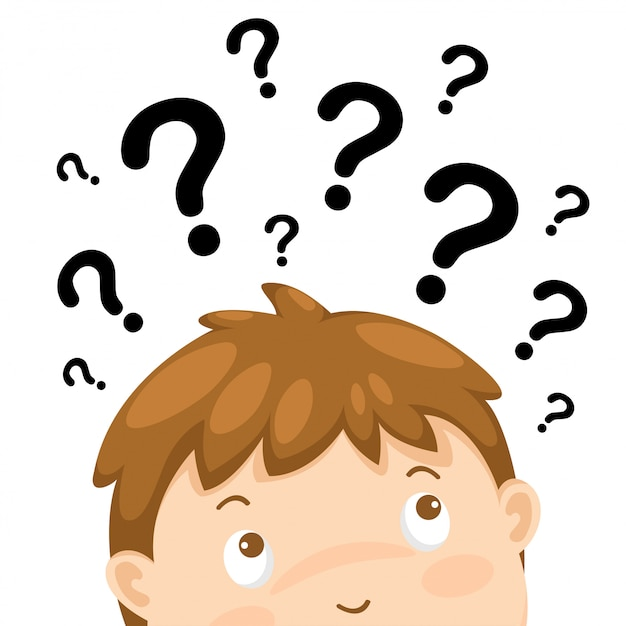 Мальчик думает с вектором вопросительных знаков Premium векторы