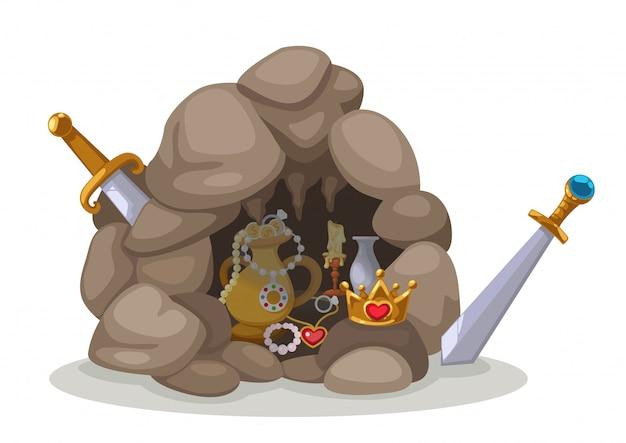 宝の洞窟のベクトル Premiumベクター