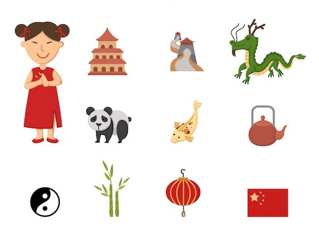 Набор векторных символов китая Premium векторы