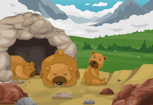 山の景色の背景ベクトルに熊 Premiumベクター