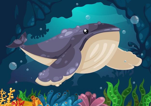 海のベクトルの下のクジラ Premiumベクター