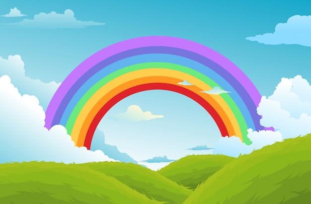 虹と空の背景の雲 Premiumベクター