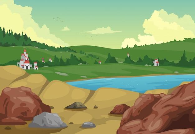 Иллюстрация сельский пейзаж фон вектор Premium векторы