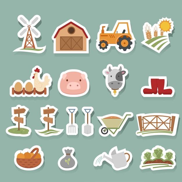 Набор иконок фермы Premium векторы
