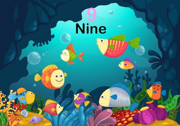 Номер девять рыб под морским вектором Premium векторы
