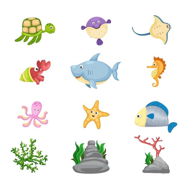 海洋生物のベクトル Premiumベクター