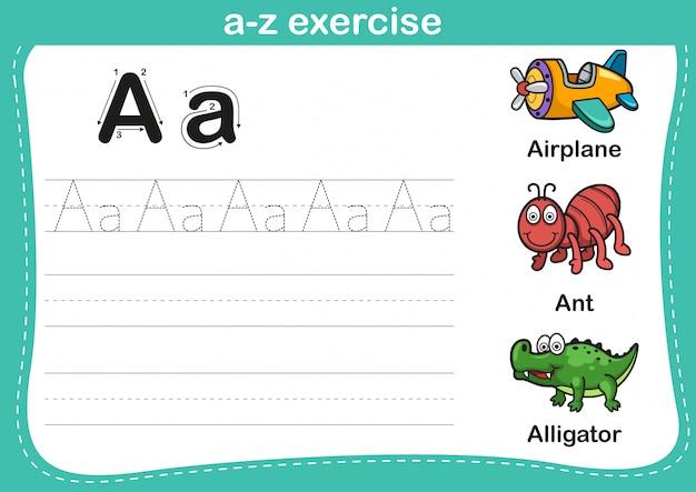 Алфавит аз упражнения с мультипликационной лексикой Premium векторы