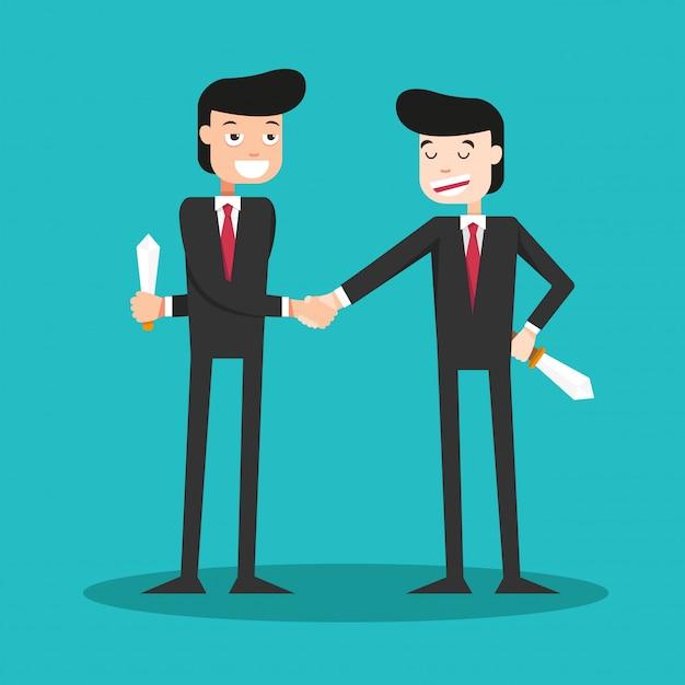 ビジネスの世界で握手をする男 Premiumベクター
