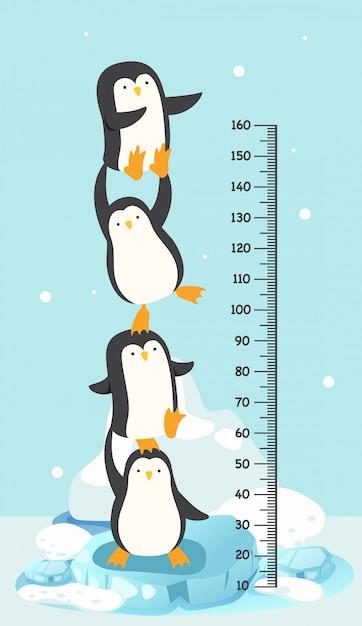 ペンギンとメーターの壁。図。 Premiumベクター