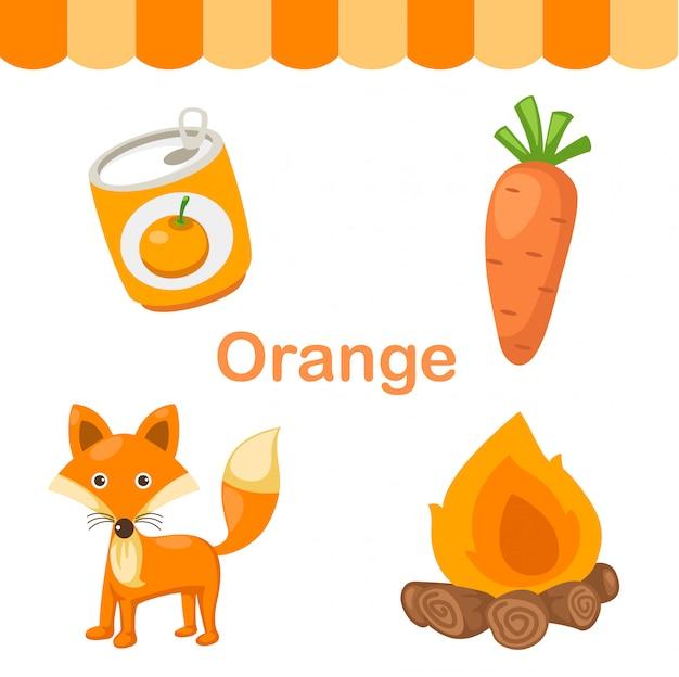孤立した色のオレンジ色のグループのイラスト Premiumベクター