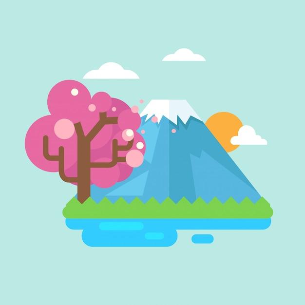 富士山と桜 Premiumベクター