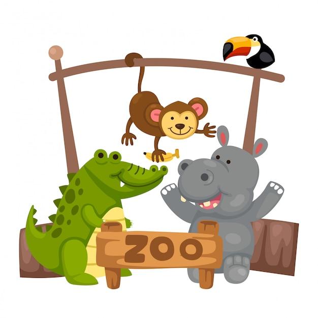 Животный зоопарк вектор Premium векторы