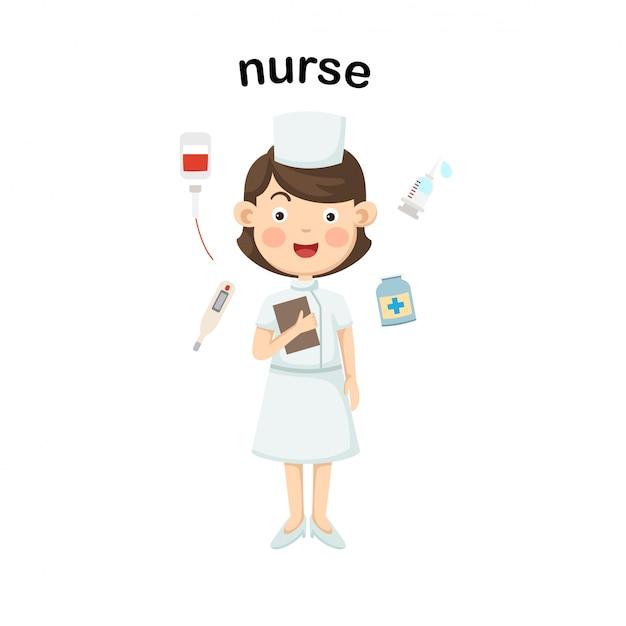 Профессия медсестры. вектор Premium векторы