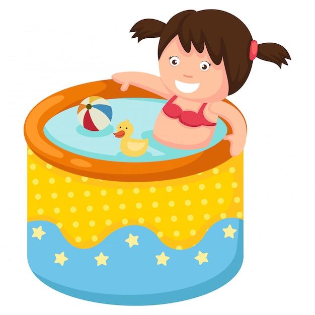 膨脹可能なプールの女の子 Premiumベクター