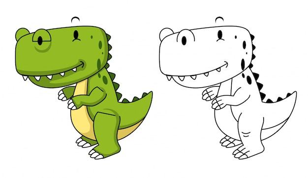 Иллюстрация образовательной раскраски динозавра Premium векторы