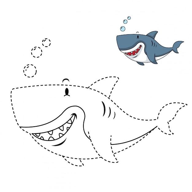 Иллюстрация развивающей игры и окраски акулы Premium векторы
