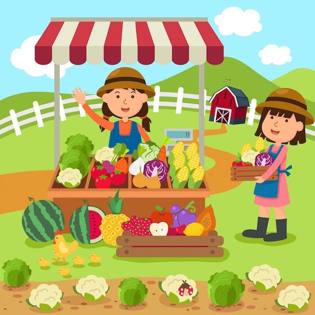 イラスト漫画女性は新鮮な野菜や果物の自家製製品を販売しています Premiumベクター