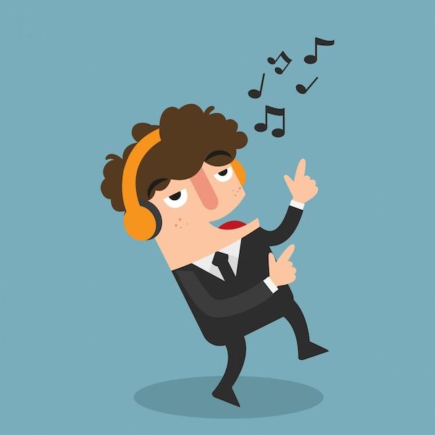 ダンスとリスニング、ヘッドフォンを持ったビジネスマンベクトル Premiumベクター