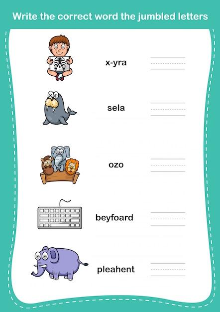 Напишите правильное слово перемешанные буквы Premium векторы