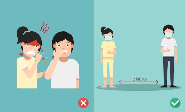 くしゃみをするときにインフルエンザを予防する正しい方法と間違った方法、感染を防ぐためのマスクの着用 Premiumベクター