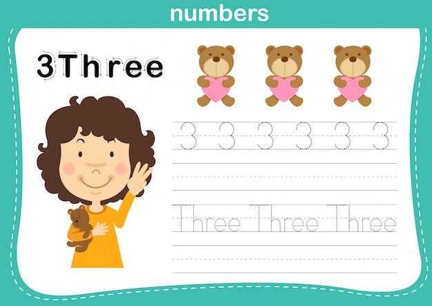 Соединение точечных и печатных чисел упражнение для детей дошкольного и детского сада иллюстрации, Premium векторы