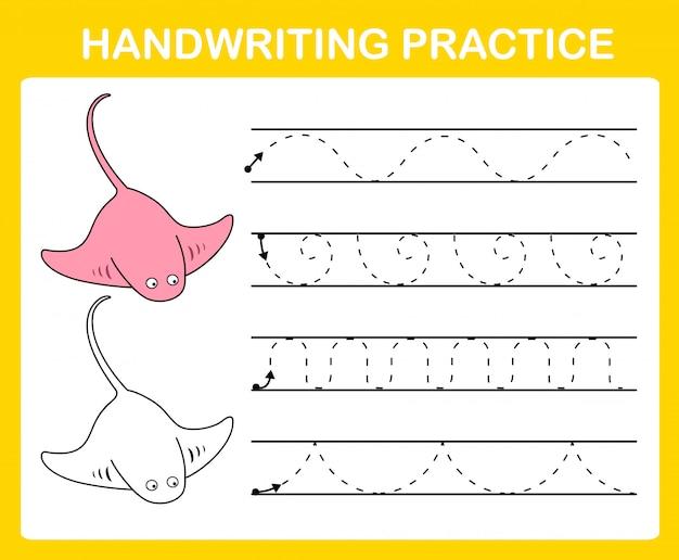 手書き練習シートのイラスト Premiumベクター