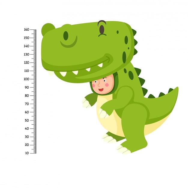 恐竜衣装のメーターウォール Premiumベクター