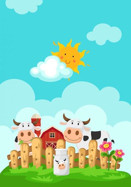 Иллюстрация пейзажа с коровами и фоном фермы Premium векторы