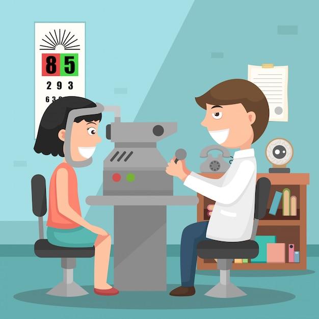 医師は、物理的な検査のイラストを実行する Premiumベクター