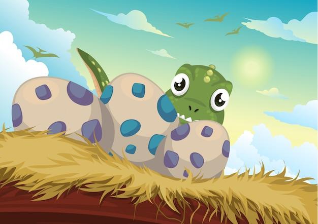 美しい漫画の恐竜と卵のイラスト Premiumベクター