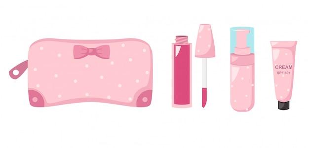 化粧品、イラスト付きバッグを作る Premiumベクター