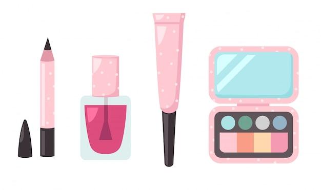 孤立したセット化粧品のイラスト Premiumベクター